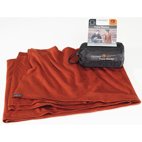 Cocoon Travel Blanket Merinovilla/silkki, dark terracotta